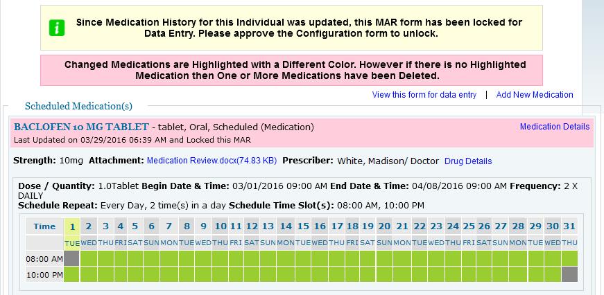 Screenshot showing the MAR in Locked status